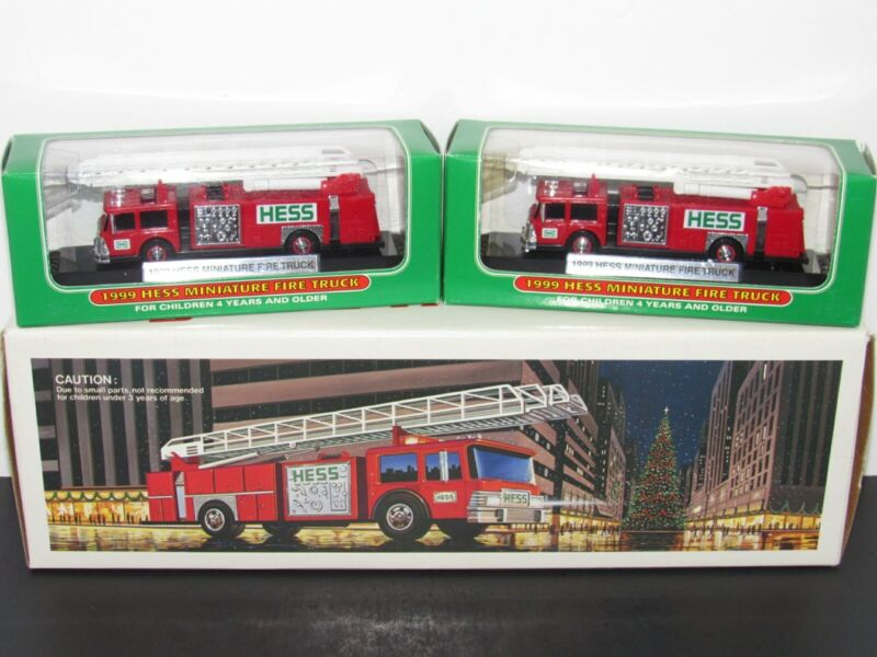 Hess Truck Lot Toy Fire Truck Bank + 2 Miniature Fire Trucks