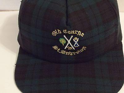 a9bb66b2d0d91 Vintage Kangol Old Course St Andrews Golf Black Watch Plaid Strapback Hat  VGC