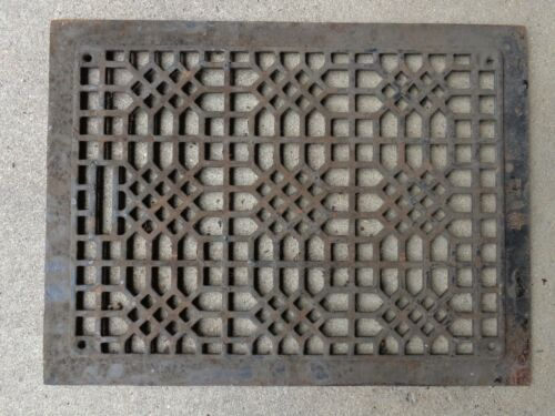 "Vintage Cast Iron Floor Grate Register Victorian Heating Furnace Home 12"" x 15"""