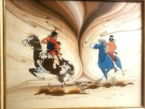 RARE BEATIEN YAZZ PAINTING HABOOB SANDSTORM NAVAJO FAMILY ON HORSEBACK ESCAPING