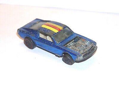1968 Hot Wheels Redline Custom Mustang US BLUE w RARE BLUE TAIL FUN YR1 FILLER!
