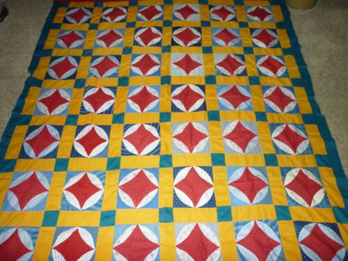 ANTIQUE EARLY ORANGE PEEL QUILT TOP VIBRANT