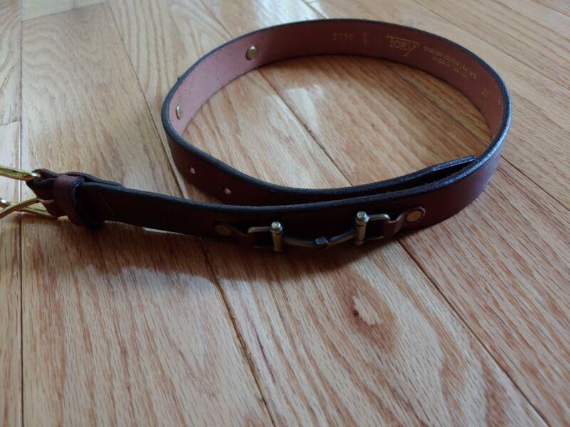 Tory Leather Belt English Brindle Leather USA Made (2196) Adjustable. Size 26