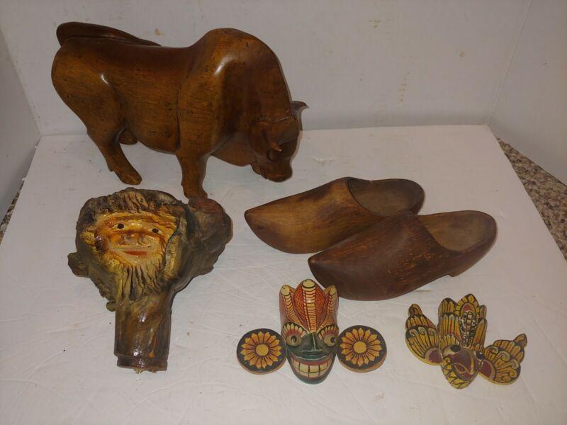 6 Vintage Solid Wood 1919 France Clogs,Bali Masks,Brahma Bull Steer,Carved Root