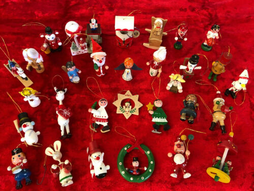 Vintage NOS Wooden Christmas Ornament Lot (31) Handpainted Plus More