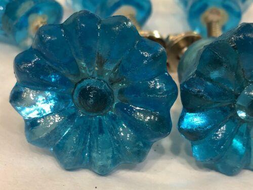 6 vintage ice blue pull knob handles(996)