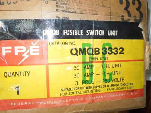Fpe Qmqb3332 30a 240v 3p Twin Fusible Switch Unit New Surplus W/ Hardware