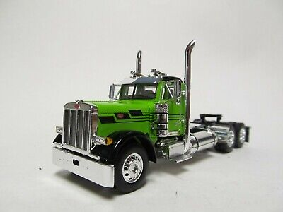 DCP 1/64 SCALE 379 PETERBILT DAY CAB LIME GREEN & BLACK  DUAL CHROME STACKS