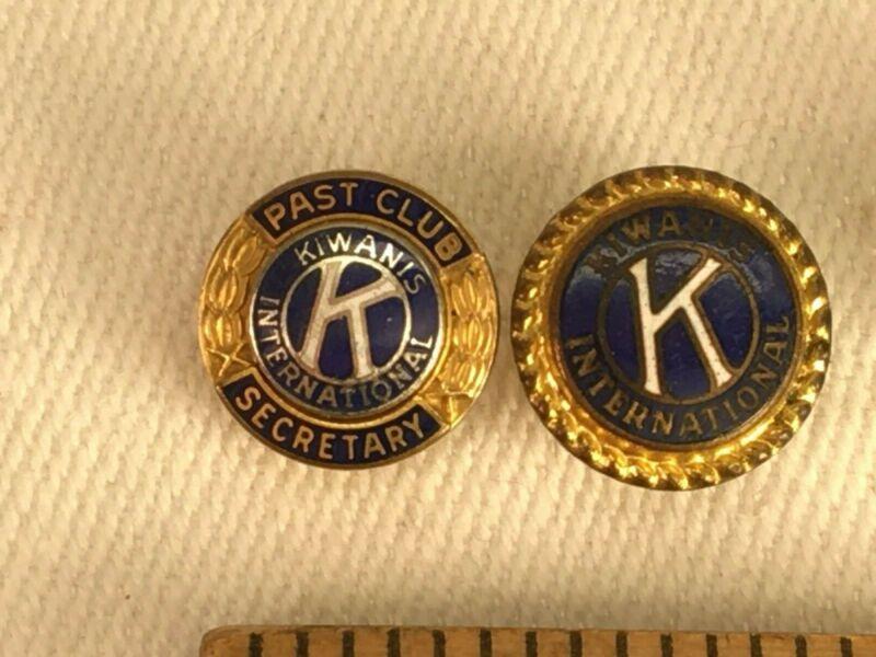 Kiwanis Intl Past Secretary Screw Back Tie Tac or Lapel Pin - Vintage Set of 2