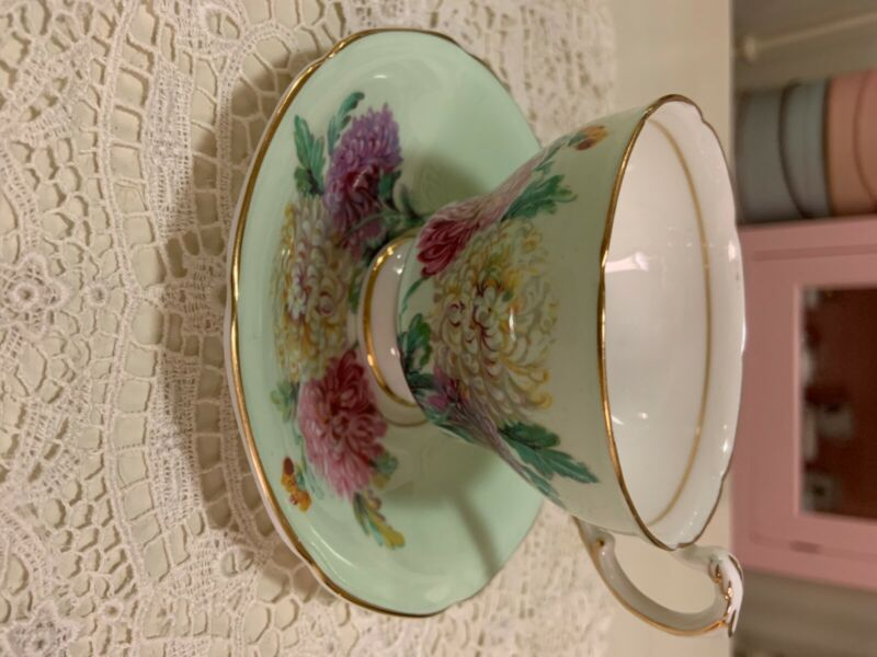 Mint Green Floral Paragon Teacup & Saucer
