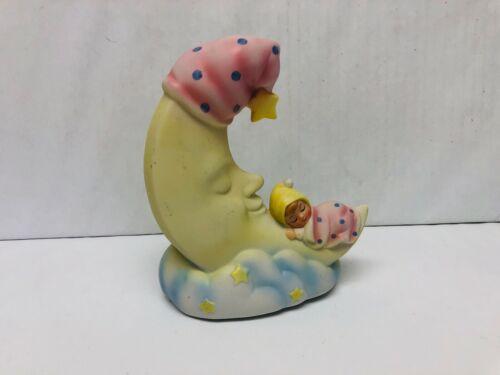 Vintage Ceramic Moon Figurine, LVC 1984 Japan, Moon and Baby Girl Sleeping