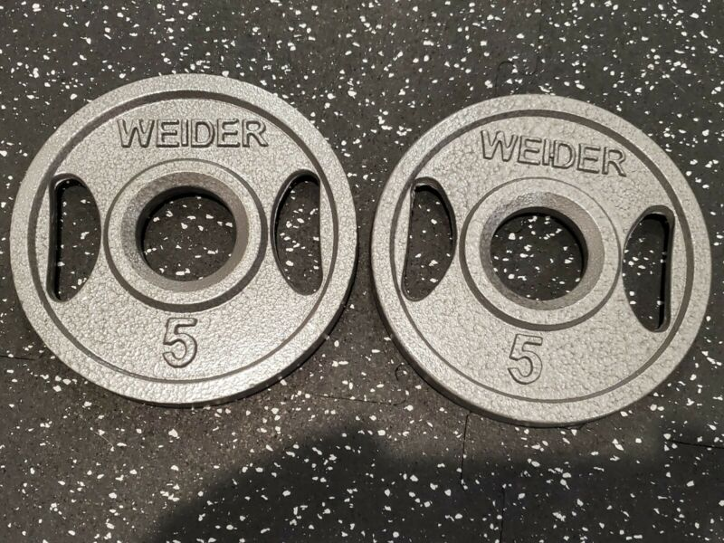 Two Weider 5 lb Cast Iron Olympic Weight Plates (10 lbs total)