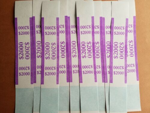 10 Self Sealing Purple $2000  Straps Currency Bands for bank money cash bill