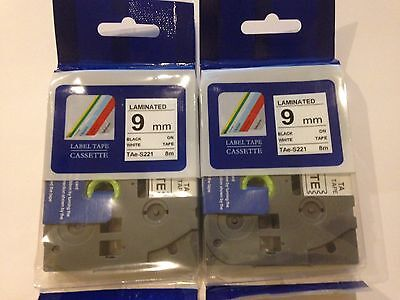 2 Compatible Brother P-touch Tz221 Label Tapes Tze221 Tz-221 Pt-1880