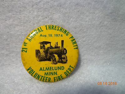 Vintage 1974 Annual Steam Engine Farm Collector Tractor Threshing Pinback Button