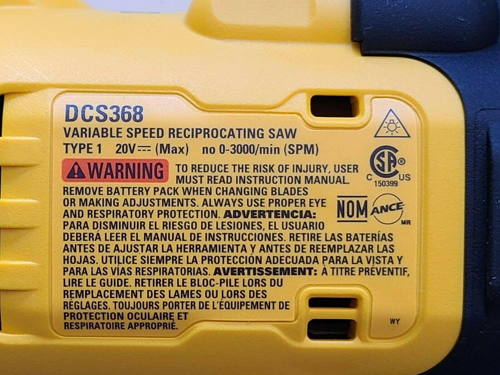 DEWALT DCS368B 20V 20 VOLT MAX XRP Reciprocating Saw Brushlees Power Detect NEW - $105.50