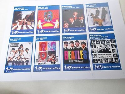 THE BEATLES UNAUTHORIZED LP ALBUMS TRADING CARDS FULL SET OF 8 ON UNCUT SHEET