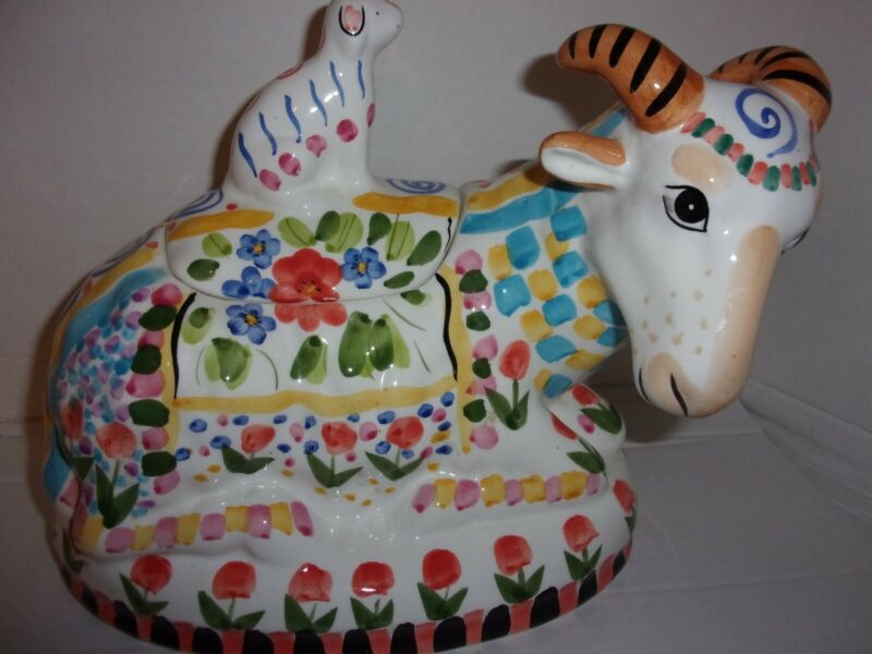 World Bazaar Cookie Jar Goat with a baby goat Lid Springtime Theme Hand Painted