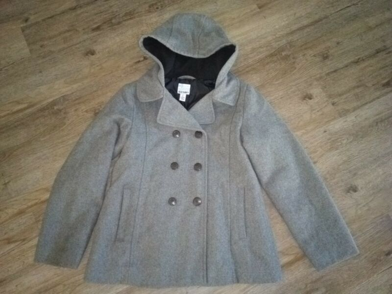 Girls Old Navy Gray Wool Blend Hooded Pea Coat Sz L (12/14) Pretty!!