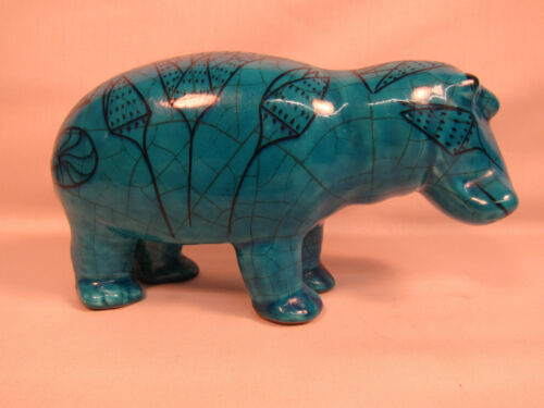 Zaccagnini Italy Metropolitan Museum MMA Hand Painted Blue Hippo Figurine