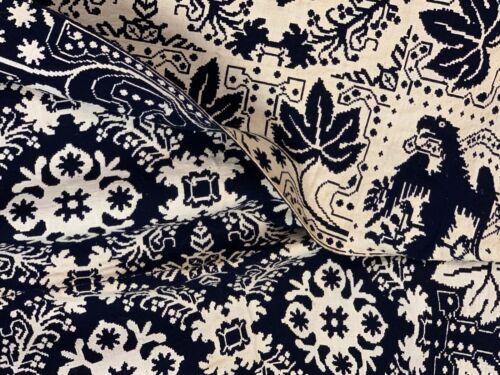 "Antique Eagle Lindsey Woolsey Coverlet 78 X 92"" Navy Indigo Blue 1800"