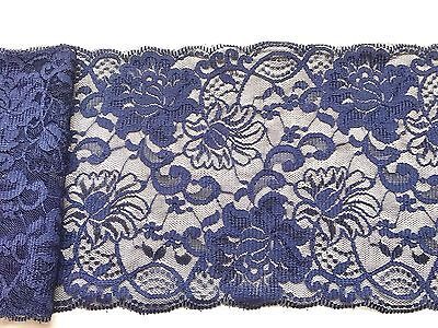 ~Navy Blue Wide Delicate Lace 6.5