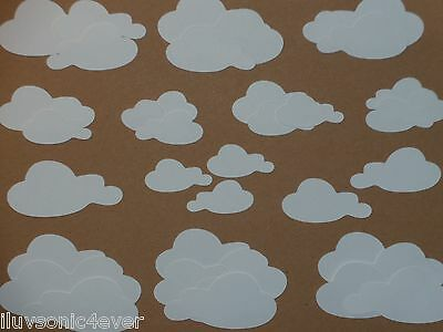 40 white clouds  3 different sizes  die cuts