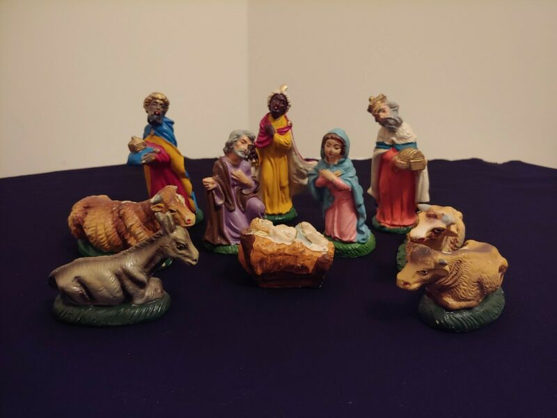 "Vintage Christmas NATIVITY SET Chalkware ~ 11 Piece ~ Made in Italy 4"" Scale"