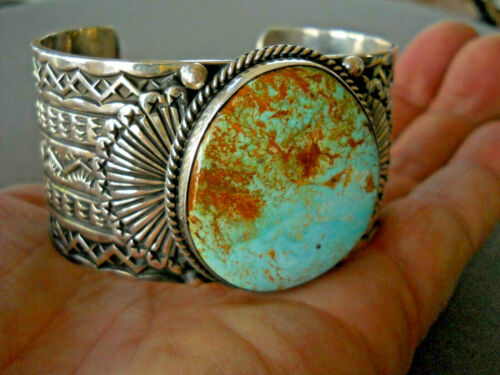 SUNSHINE REEVES Native American Royston Turquoise Sterling Silver Bracelet