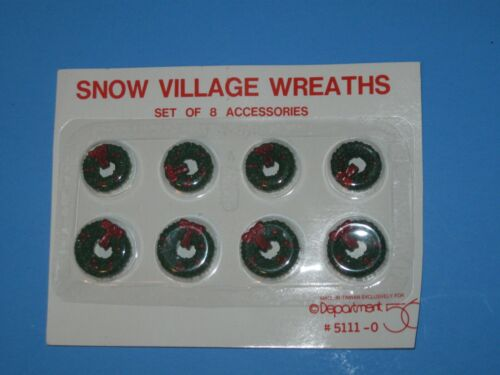 New and Sealed Department 56 Snow Village Accessory SET 8 WREATHS 5111-0