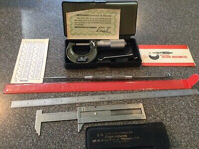 Mitutoyo 0-1 Micrometer Carbide Faced No. 103-135 12 Steel Rule Calipersawl