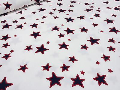 ☻ Stoff Sweatshirtstoff Sterne Druck Kinderstoff weiß rot marine blau Jersey ☻  Kinder Sweatshirt Marine