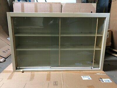 Tan Lab Casework Overhead Cabinet With Sliding Glass Doors 48w