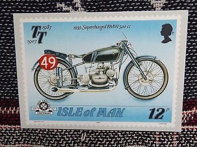 ISLE OF MAN TT POSTCARD - 1939 SUPERCHARGED BMW 500cc