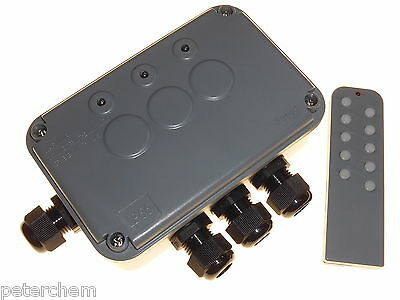 Light switching box remote controlled 3 gang outdoor garden pond switch IP66 20M