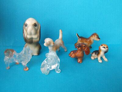 Vintage white /& blue porcelain dog figurine mini hound crown over N backstamp