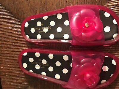 "NEW Kate Spade ""SPLASH"" Sz 7 Pink Floral Swirl Jelly Slides Sandals Rubber Low"