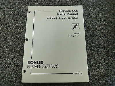 Kohler E33 Logic Board Automatic Transfer Switch Parts Catalog Service Manual