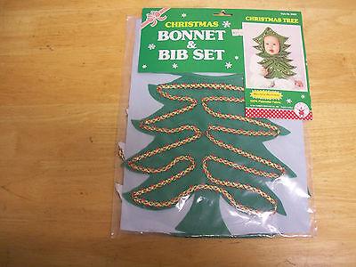 NEW in Pkg Vintage Christmas Tree Bonnet & Bib Set Baby Toddler Child Made USA