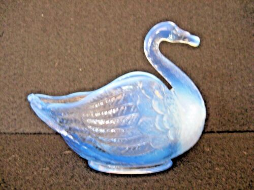 Glass SWAN dish bowl blue white highlighted Imperial?