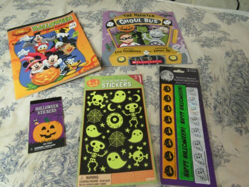 Lot of Kids Halloween Coloring Book, Book, Stickers & Reflective Bracelets