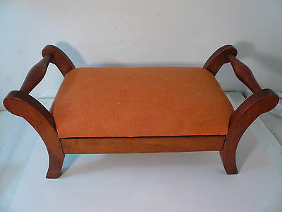 Early Antique Vintage Wooden Foot Stool Doll Chair 18