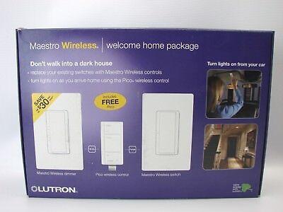 Lutron Mrf2-la Maestro Wireless Welcome Home Package 3 Switch Kit Lt. Almond T63