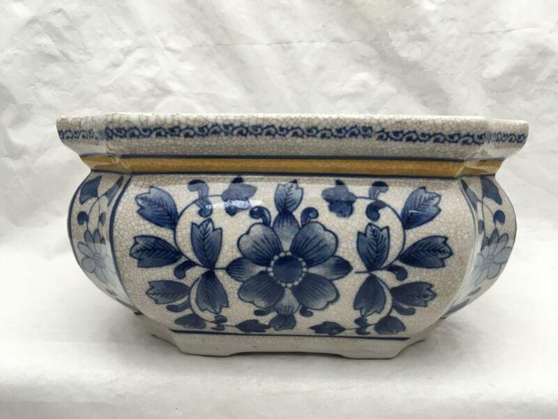 "Large Asian Style Console Bowl Cobalt Blue Floral Crackle Finish 10.5""x5.75"""