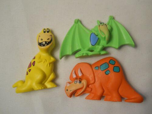 Post Fruity Pebbles premium - 1990 H B P Inc - Three toy DINOSAURS - PVC
