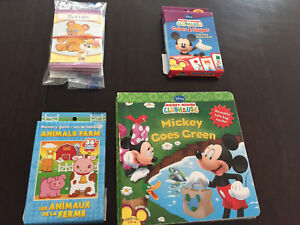 Flash cards for memory and vocabulary games and Mickey book
