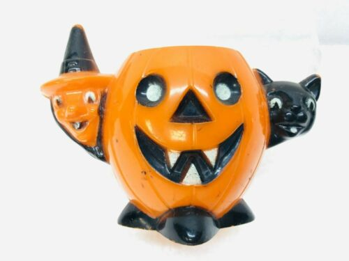 Vintage Rosbro Halloween Hard Plastic Pumpkin Witch Black Cat Candy Container