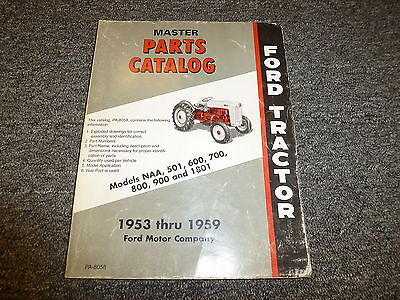 Ford Naa 501 600 700 800 900 1801 Utility Tractor Master Parts Catalog Manual