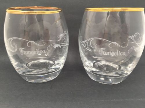 174 Set of 2 Frangelico Liquer 9 oz Gold Rimmed Round Glasses! Free Shipping!