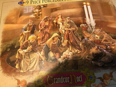 1999 Grandeur Noel Collector Edition 9 PC Hand-Painted Porcelain Nativity Set